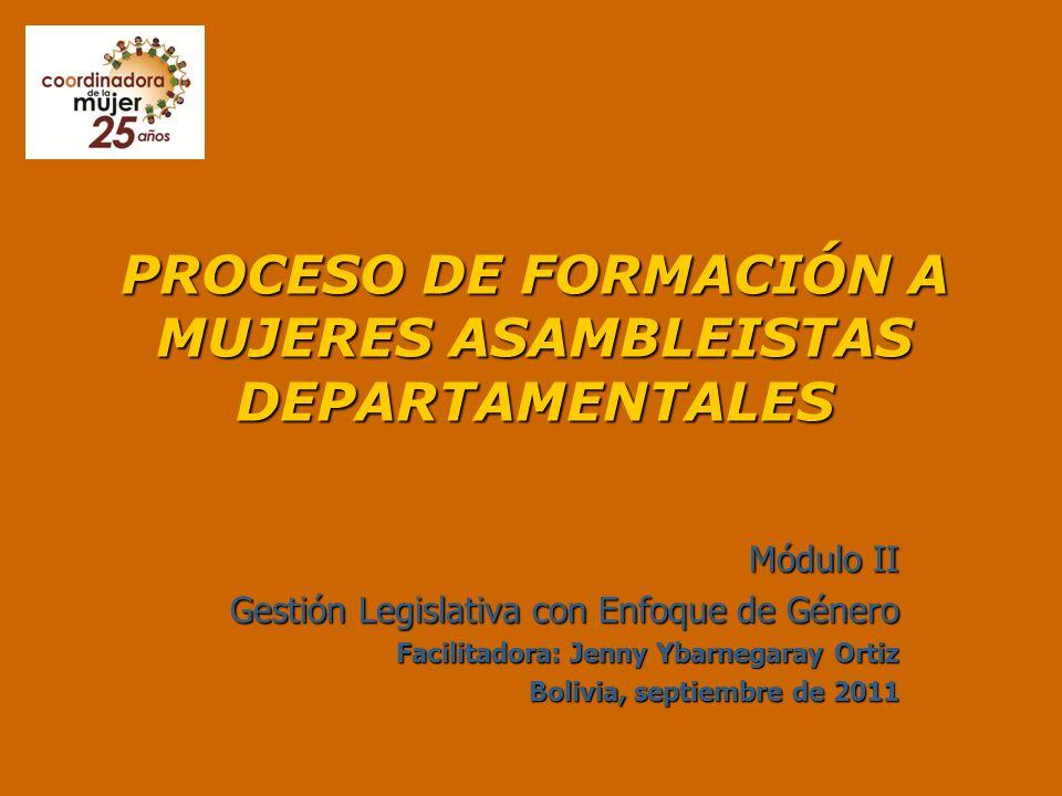 PROCESO DE FORMACIÓN A MUJERES ASAMBLEISTAS DEPARTAMENTALES