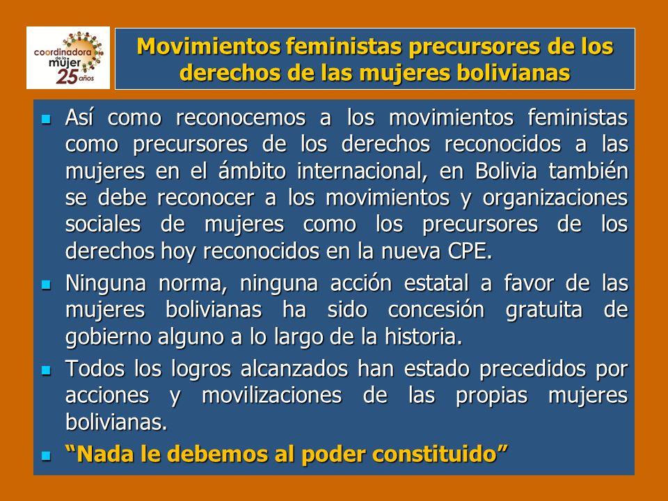Movimientos feministas precursores de los derechos de las mujeres bolivianas