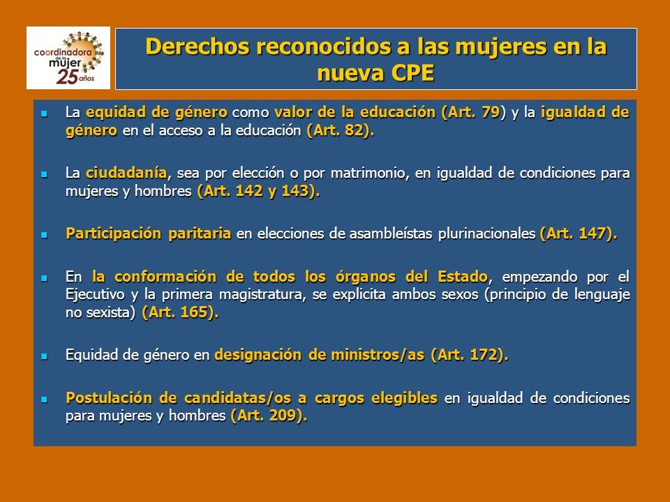 Derechos reconocidos a las mujeres en la nueva CPE