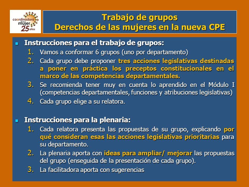 Trabajo de grupos Derechos de las mujeres en la nueva CPE