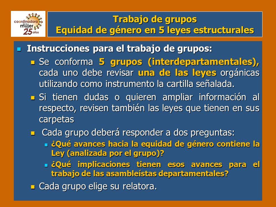 Trabajo de grupos Equidad de género en 5 leyes estructurales