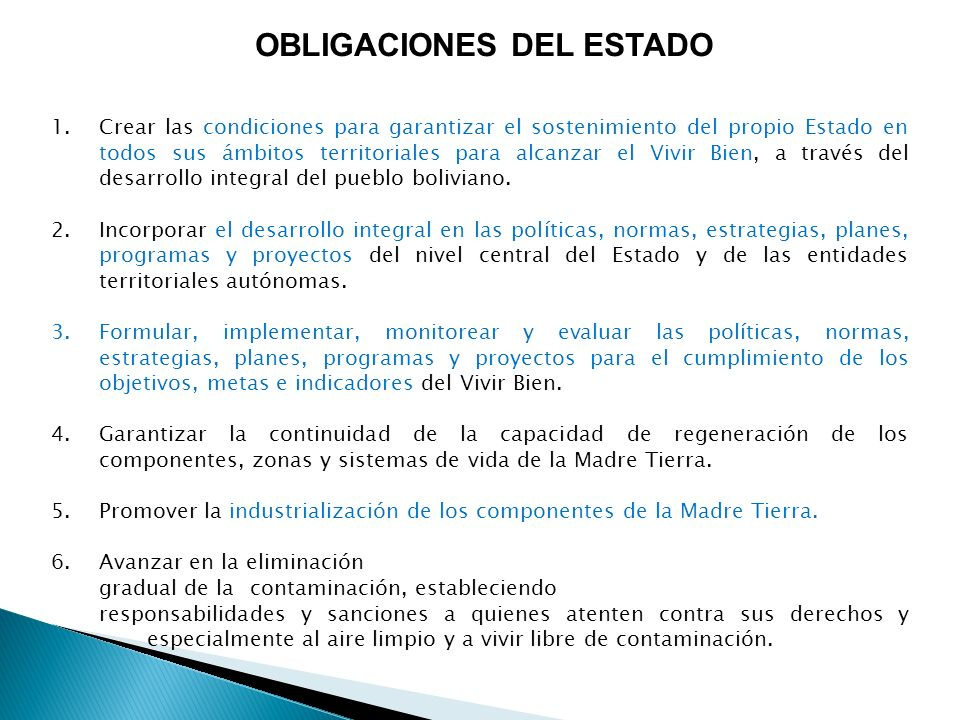 OBLIGACIONES DEL ESTADO