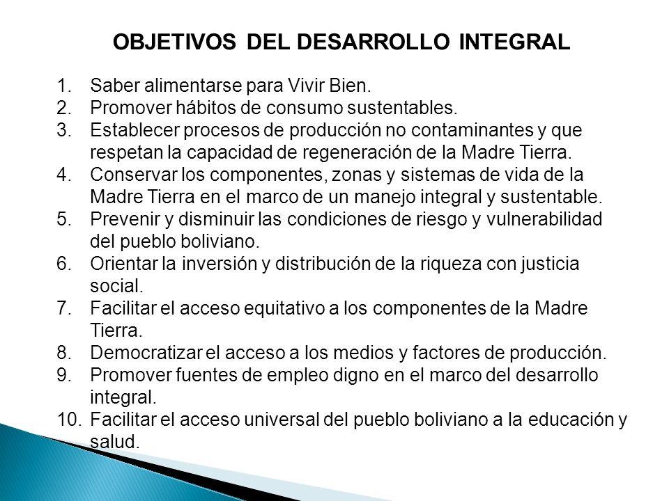 OBJETIVOS DEL DESARROLLO INTEGRAL