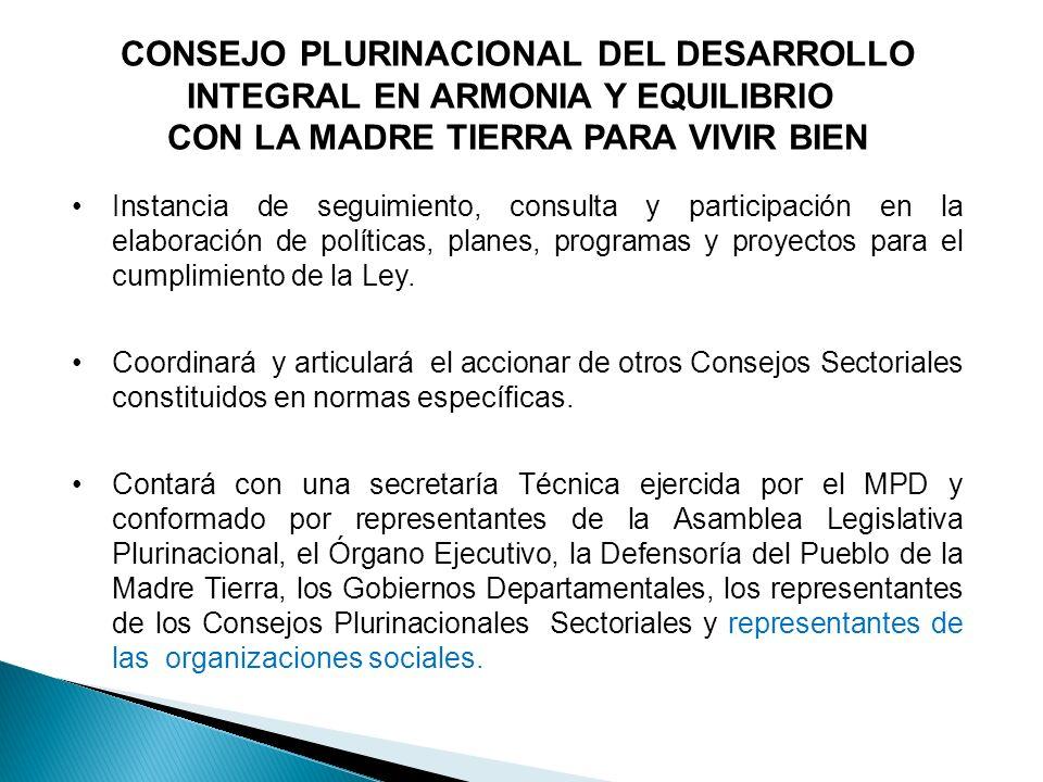CONSEJO PLURINACIONAL DEL DESARROLLO INTEGRAL EN ARMONIA Y EQUILIBRIO
