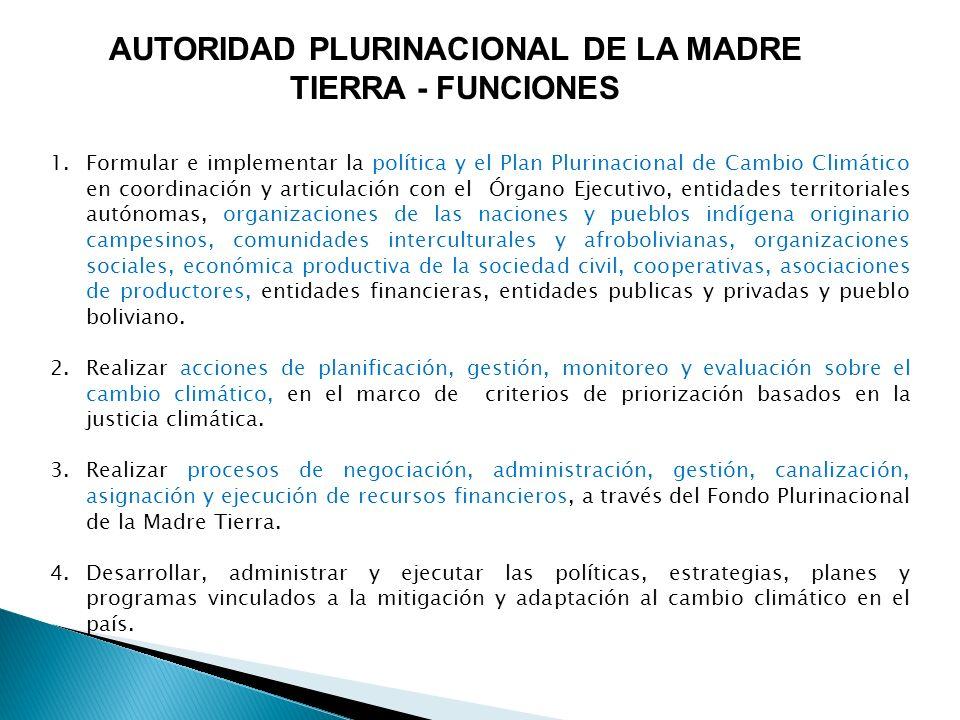 AUTORIDAD PLURINACIONAL DE LA MADRE TIERRA - FUNCIONES