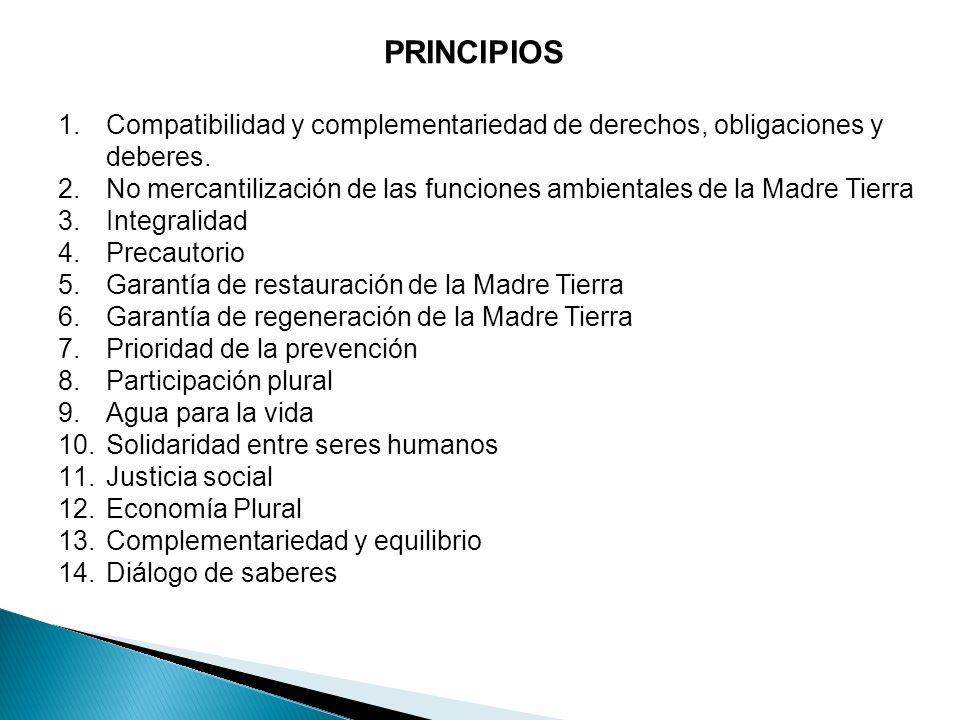 PRINCIPIOS Compatibilidad y complementariedad de derechos, obligaciones y deberes.