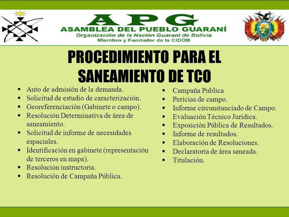 PROCEDIMIENTO PARA EL SANEAMIENTO DE TCO
