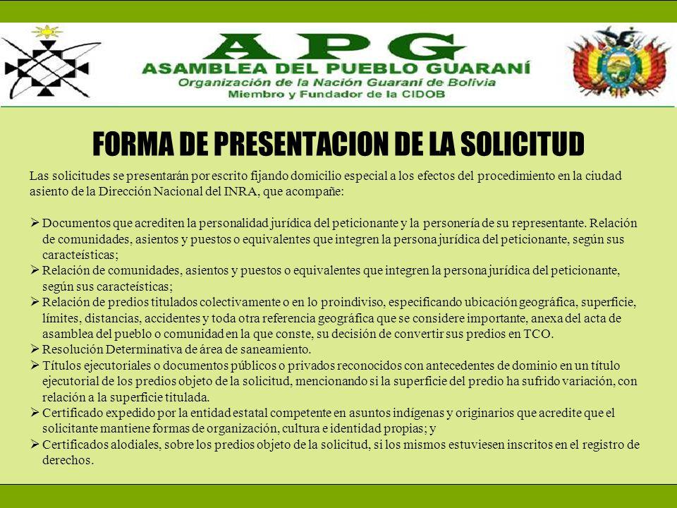 FORMA DE PRESENTACION DE LA SOLICITUD