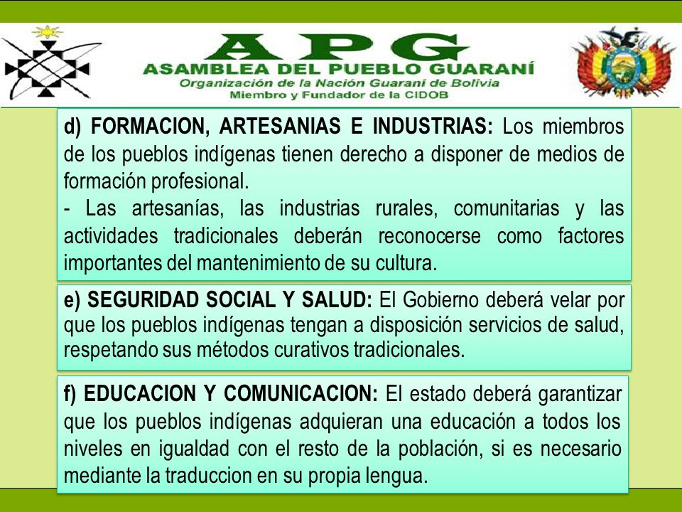 d) FORMACION, ARTESANIAS E INDUSTRIAS: Los miembros de los pueblos indígenas tienen derecho a disponer de medios de formación profesional.