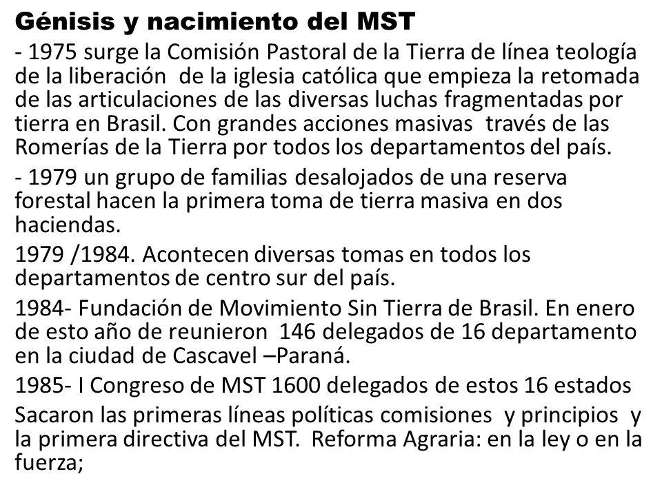 Génisis y nacimiento del MST - 1975 surge la Comisión Pastoral de la Tierra de línea teología de la liberación de la iglesia católica que empieza la retomada de las articulaciones de las diversas luchas fragmentadas por tierra en Brasil.