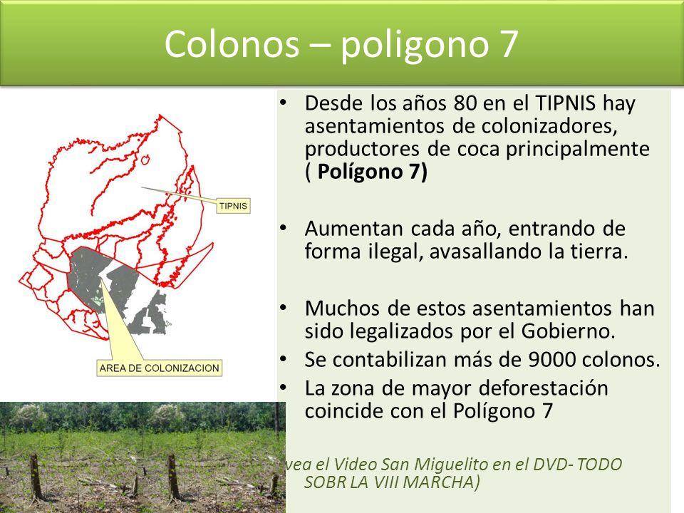Colonos – poligono 7 Desde los años 80 en el TIPNIS hay asentamientos de colonizadores, productores de coca principalmente ( Polígono 7)