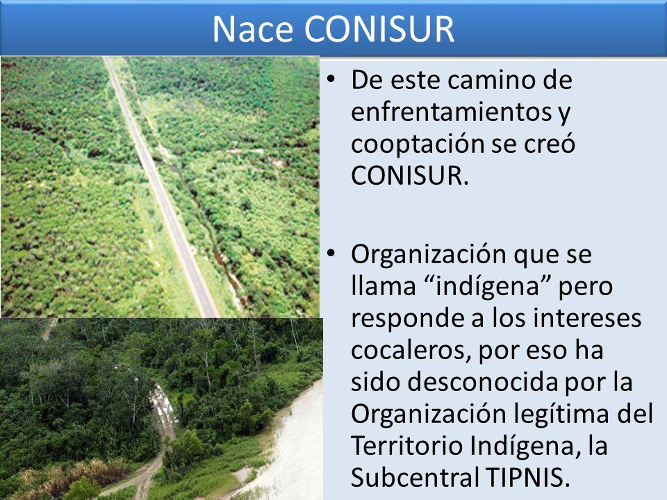 Nace CONISUR De este camino de enfrentamientos y cooptación se creó CONISUR.