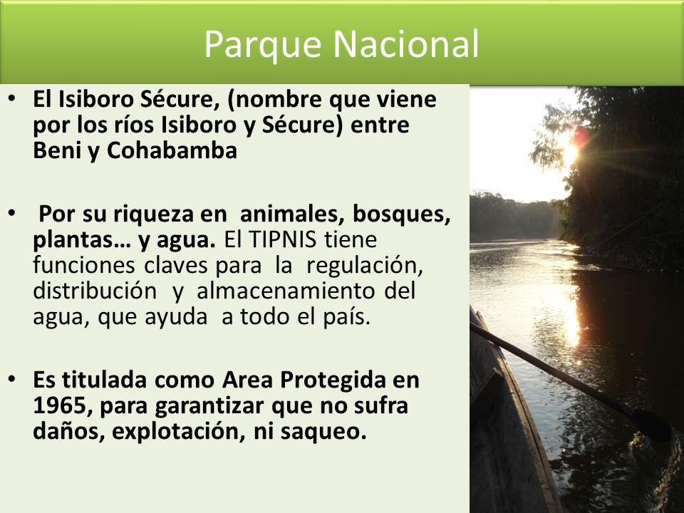 Parque NacionalEl Isiboro Sécure, (nombre que viene por los ríos Isiboro y Sécure) entre Beni y Cohabamba.