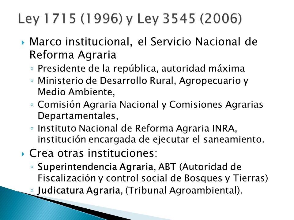 Ley 1715 (1996) y Ley 3545 (2006)Marco institucional, el Servicio Nacional de Reforma Agraria. Presidente de la república, autoridad máxima.