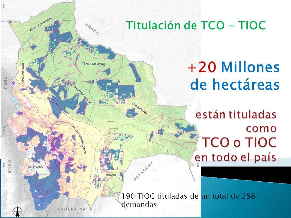están tituladas como TCO o TIOC en todo el país
