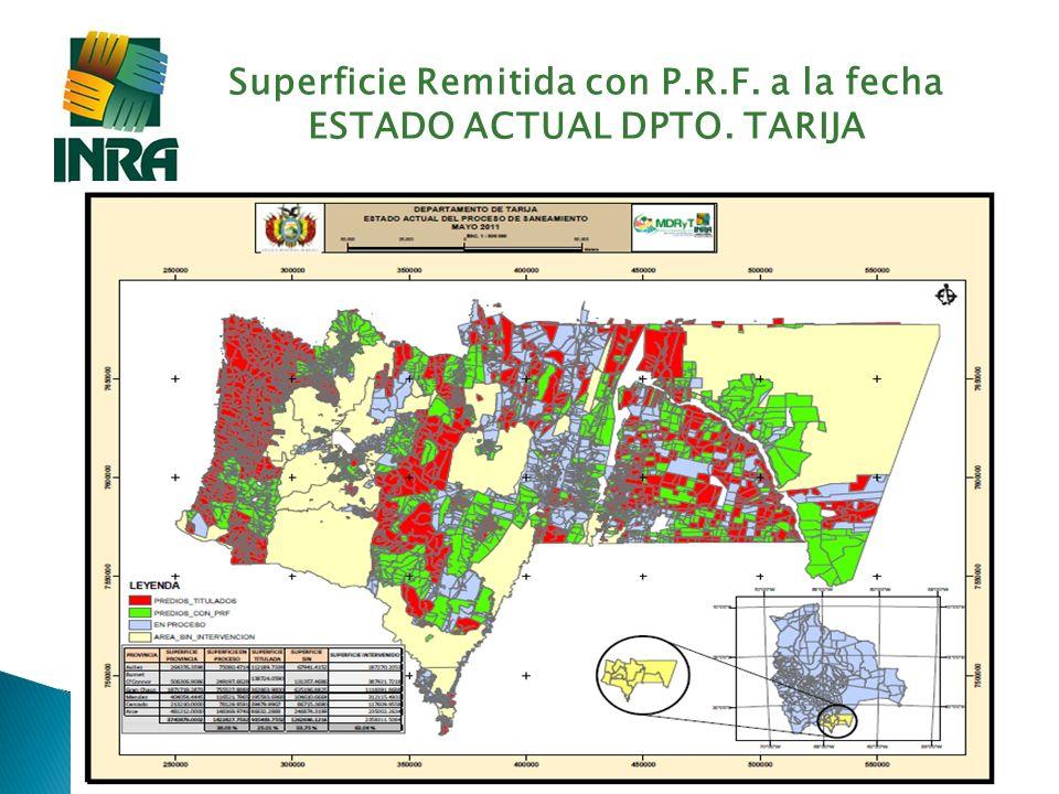Superficie Remitida con P.R.F. a la fecha ESTADO ACTUAL DPTO. TARIJA