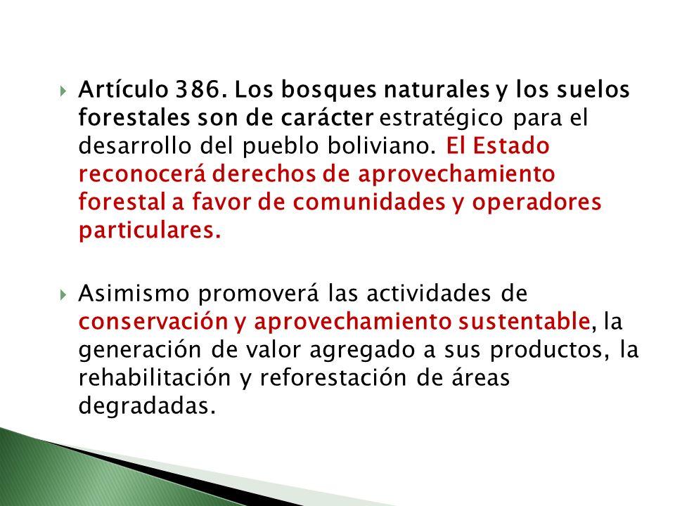 Artículo 386. Los bosques naturales y los suelos forestales son de carácter estratégico para el desarrollo del pueblo boliviano. El Estado reconocerá derechos de aprovechamiento forestal a favor de comunidades y operadores particulares.