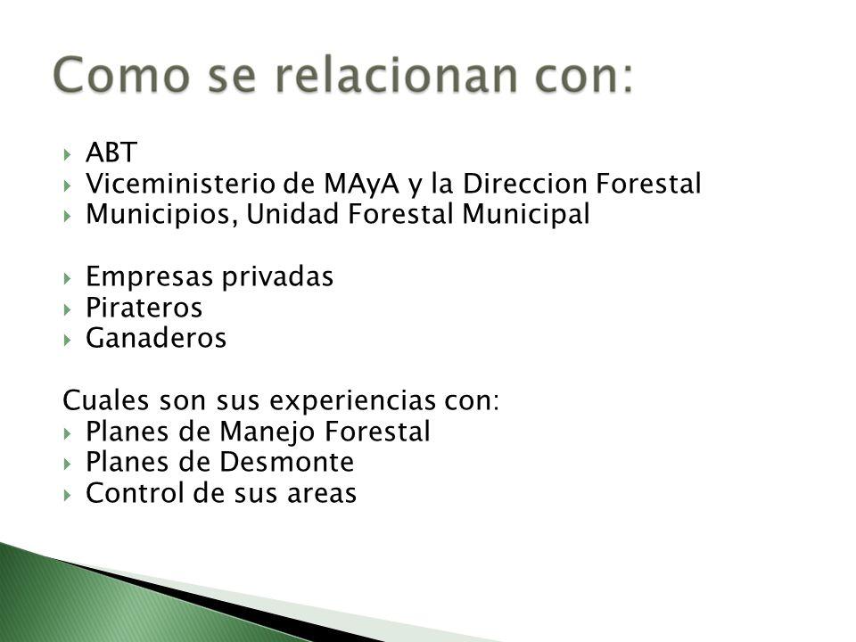 ABTViceministerio de MAyA y la Direccion Forestal. Municipios, Unidad Forestal Municipal. Empresas privadas.