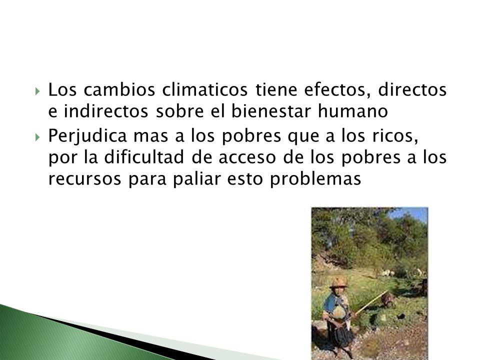 Los cambios climaticos tiene efectos, directos e indirectos sobre el bienestar humano