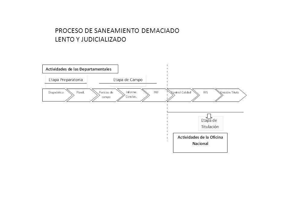 PROCESO DE SANEAMIENTO DEMACIADO LENTO Y JUDICIALIZADO