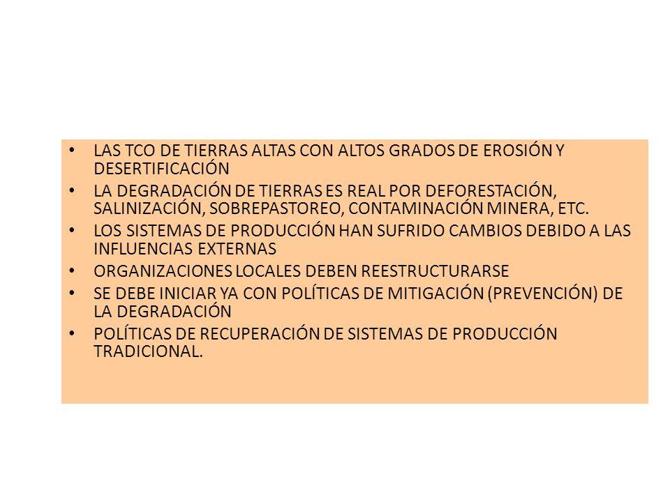 LAS TCO DE TIERRAS ALTAS CON ALTOS GRADOS DE EROSIÓN Y DESERTIFICACIÓN