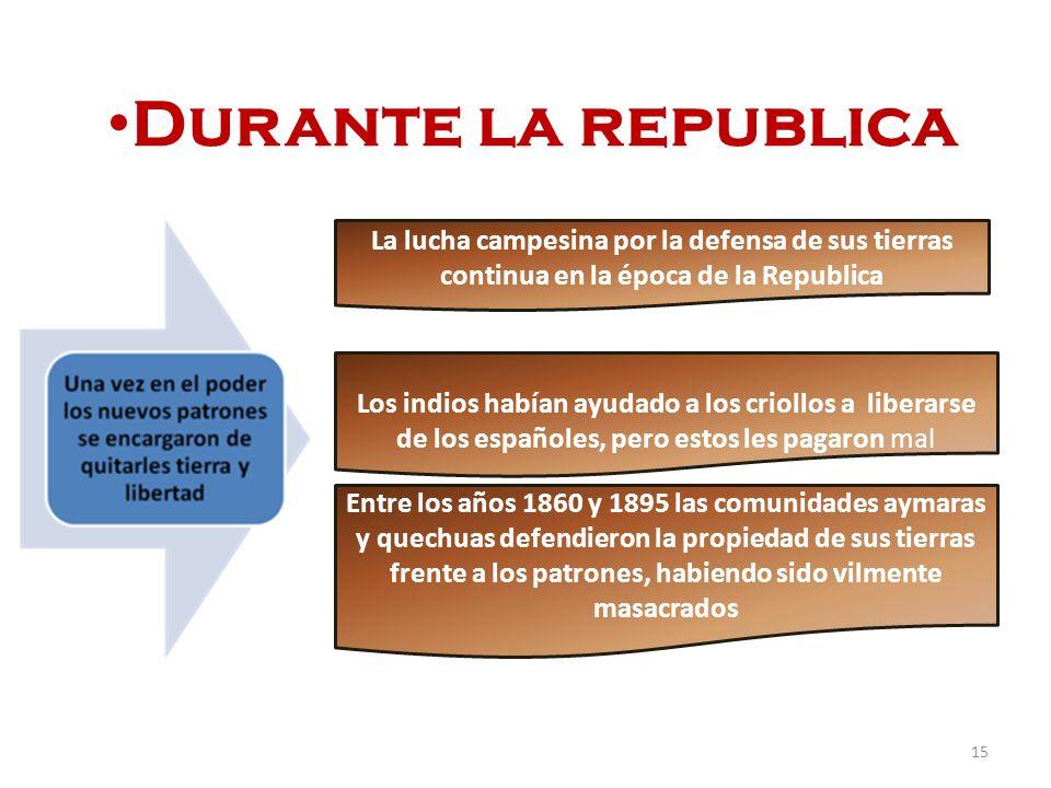 Durante la republica La lucha campesina por la defensa de sus tierras continua en la época de la Republica.