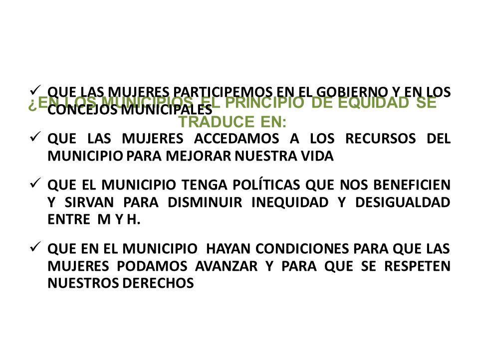 ¿EN LOS MUNICIPIOS EL PRINCIPIO DE EQUIDAD SE TRADUCE EN: