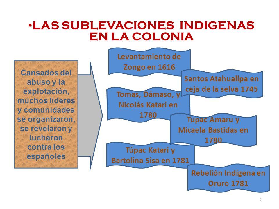 LAS SUBLEVACIONES INDIGENAS EN LA COLONIA