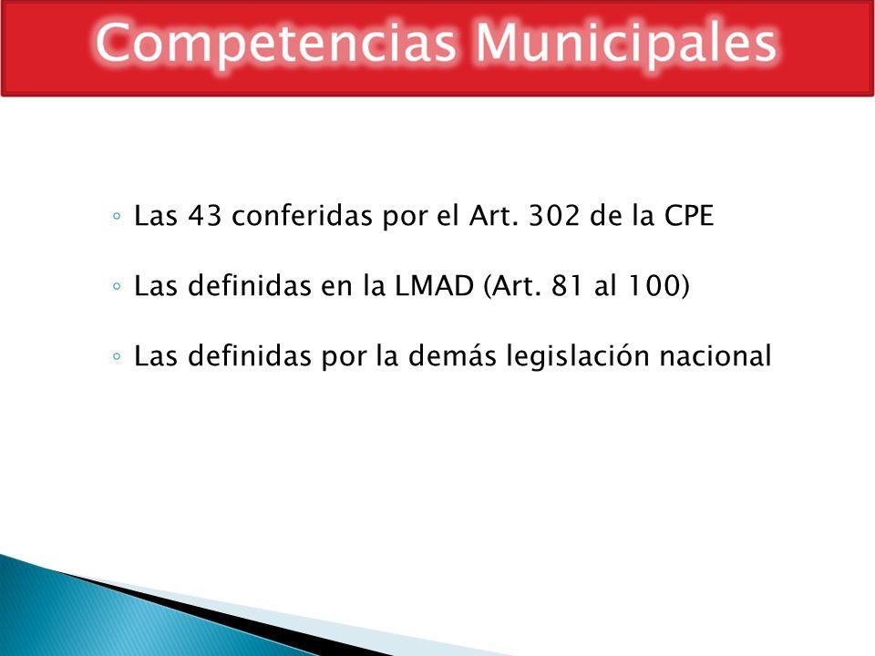 Las 43 conferidas por el Art. 302 de la CPE