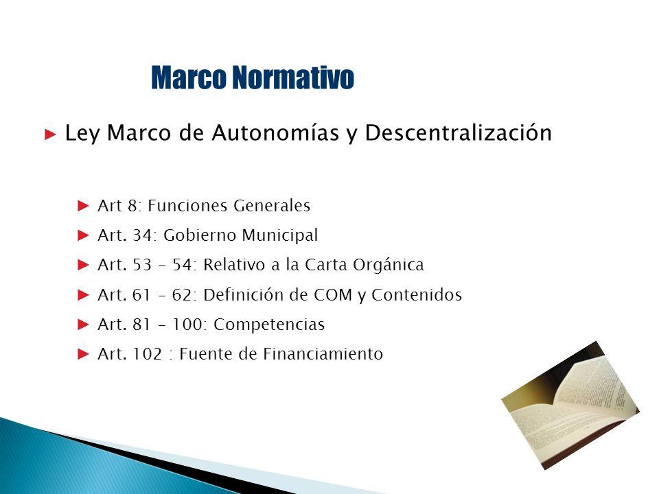 Marco Normativo Ley Marco de Autonomías y Descentralización