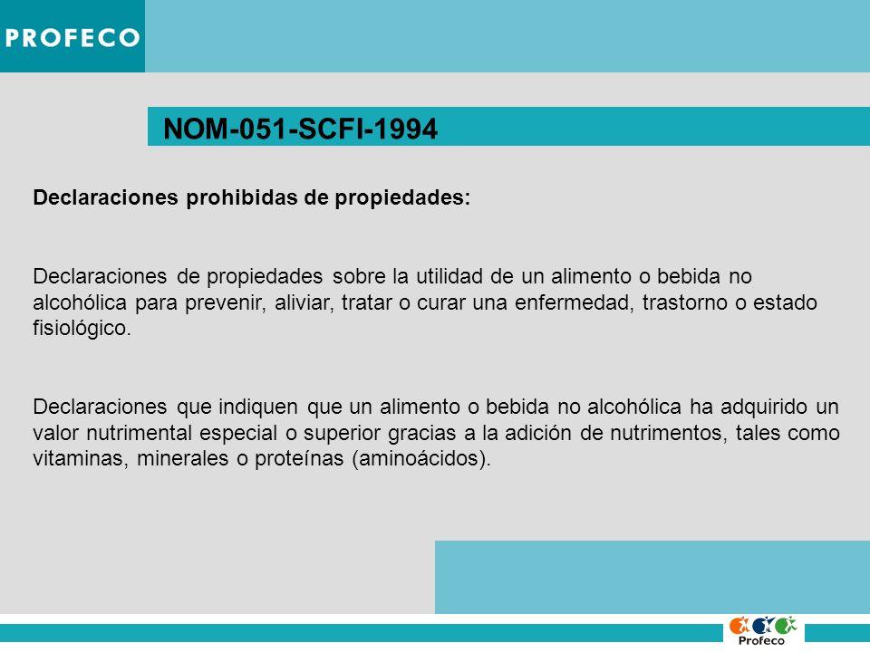 NOM-051-SCFI-1994 Declaraciones prohibidas de propiedades: