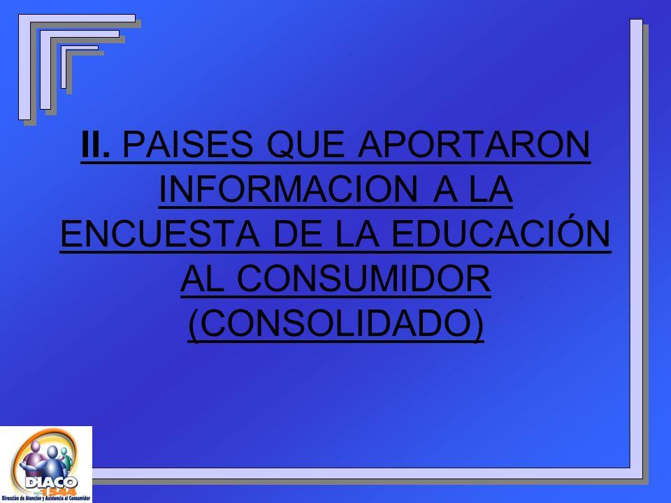 II. PAISES QUE APORTARON INFORMACION A LA ENCUESTA DE LA EDUCACIÓN AL CONSUMIDOR (CONSOLIDADO)