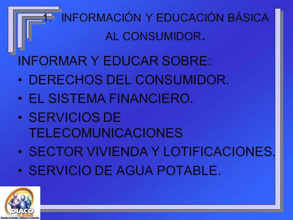 1. INFORMACIÓN Y EDUCACIÓN BÁSICA AL CONSUMIDOR.