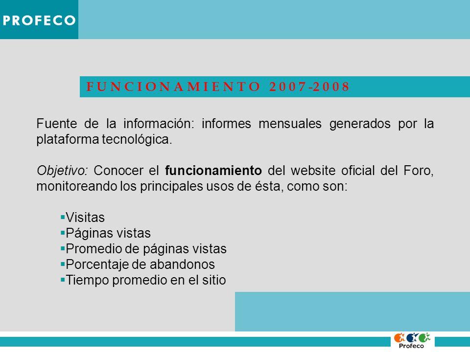 F U N C I O N A M I E N T O 2 0 0 7 -2 0 0 8 Fuente de la información: informes mensuales generados por la plataforma tecnológica.