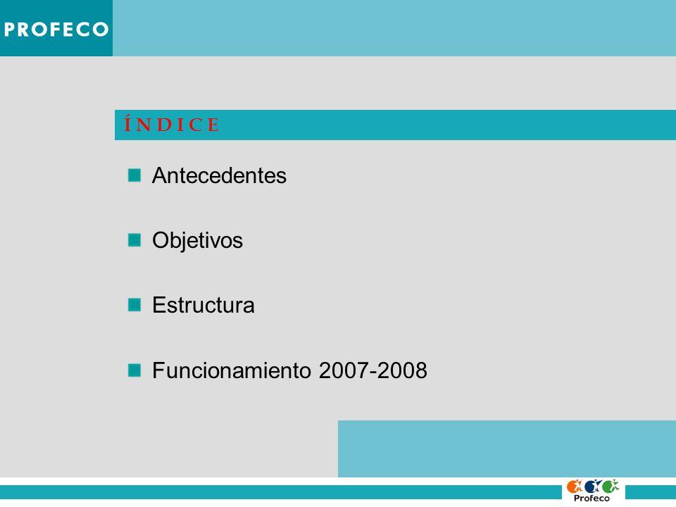 Í N D I C E Antecedentes Objetivos Estructura Funcionamiento 2007-2008