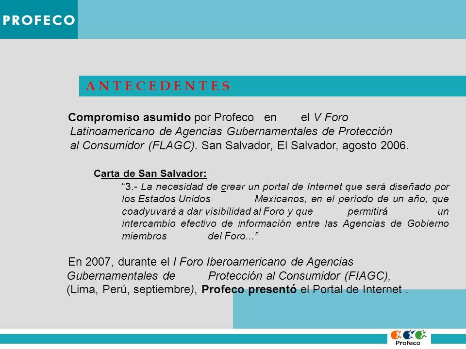 A N T E C E D E N T E S Compromiso asumido por Profeco en el V Foro. Latinoamericano de Agencias Gubernamentales de Protección.