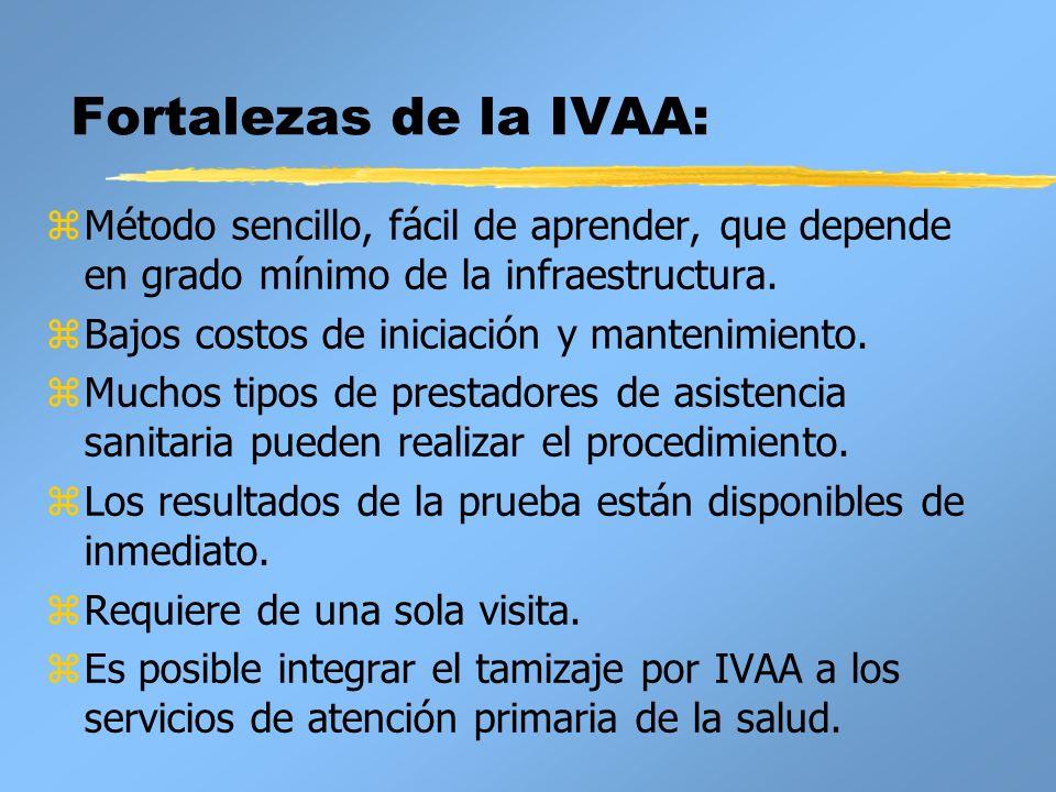 Fortalezas de la IVAA:Método sencillo, fácil de aprender, que depende en grado mínimo de la infraestructura.