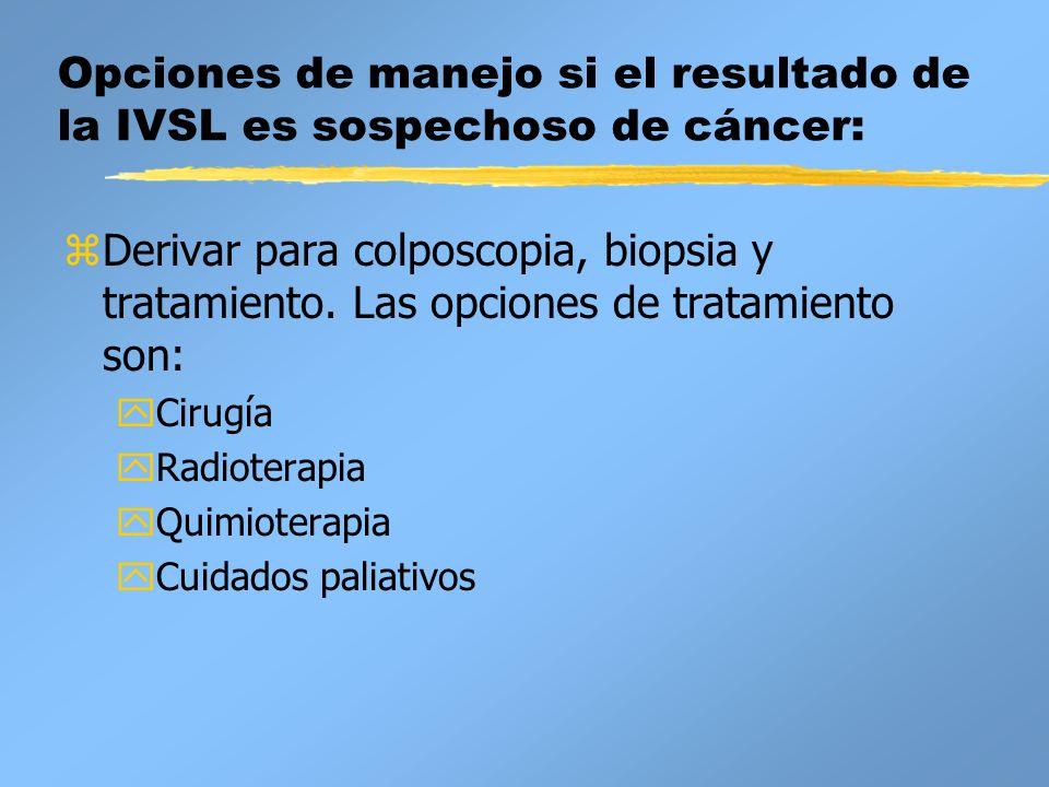 Opciones de manejo si el resultado de la IVSL es sospechoso de cáncer: