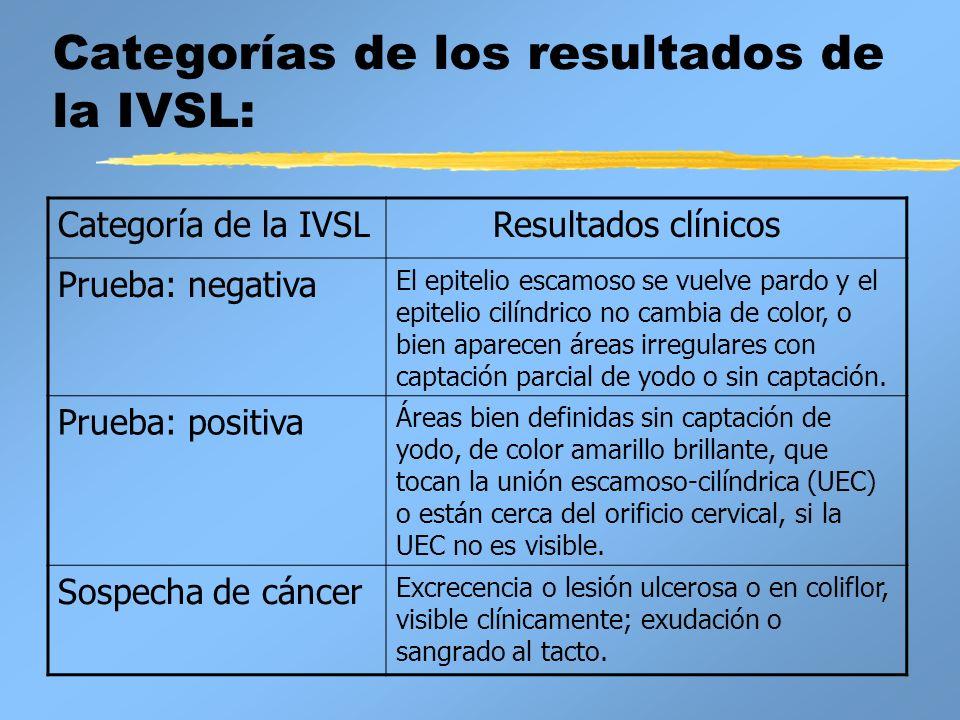 Categorías de los resultados de la IVSL: