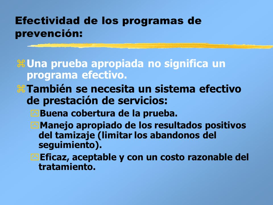 Efectividad de los programas de prevención: