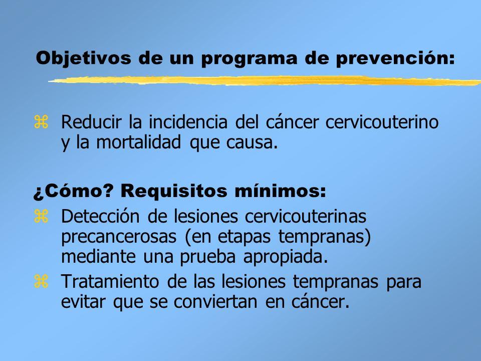 Objetivos de un programa de prevención: