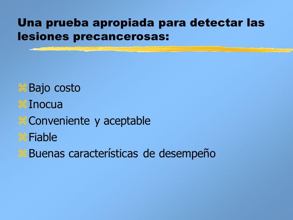 Una prueba apropiada para detectar las lesiones precancerosas:
