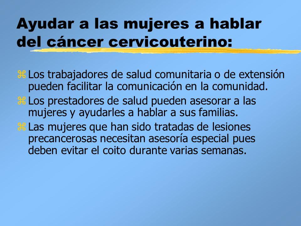 Ayudar a las mujeres a hablar del cáncer cervicouterino: