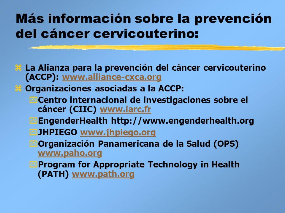 Más información sobre la prevención del cáncer cervicouterino: