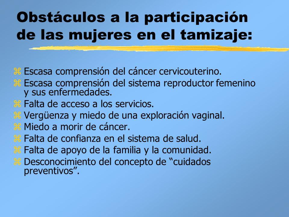 Obstáculos a la participación de las mujeres en el tamizaje: