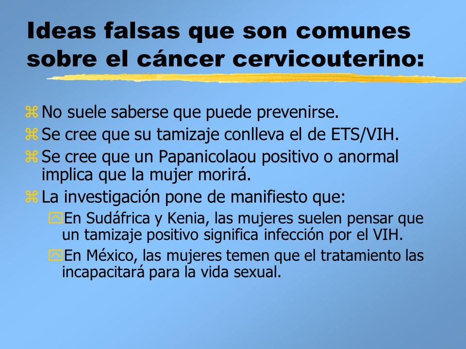 Ideas falsas que son comunes sobre el cáncer cervicouterino: