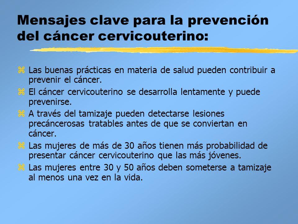 Mensajes clave para la prevención del cáncer cervicouterino: