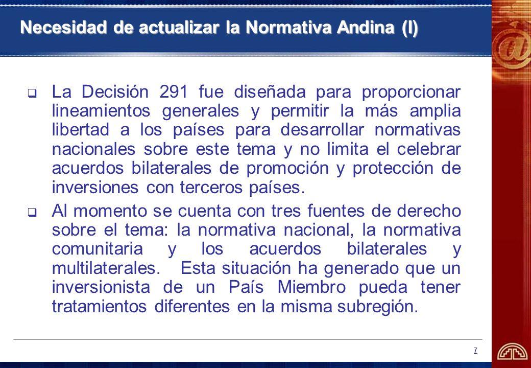 Necesidad de actualizar la Normativa Andina (I)