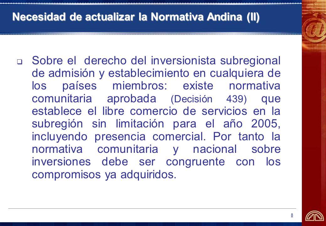 Necesidad de actualizar la Normativa Andina (II)
