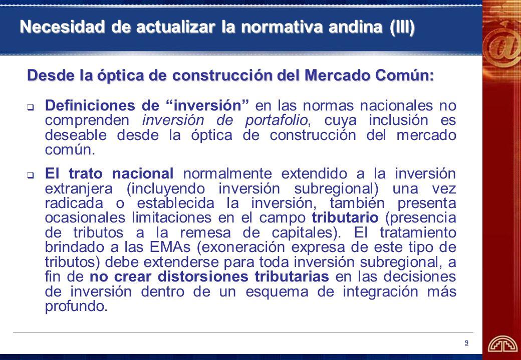 Necesidad de actualizar la normativa andina (III)